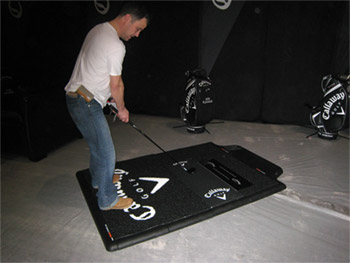 TrueStrike CEO Philip Sear, testing out Callaway's fully customized mats