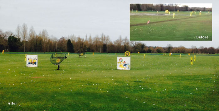 Tonbridge Golf Centre before and after of their range outfield since the install of the TrueBot robots