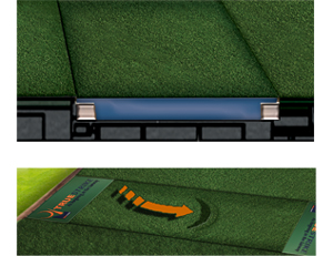 TrueStrike golf mat in cross section, showing divot sub section