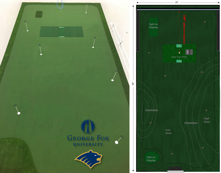 George Fox University Golf Room featuring TrueStrike Hitting Mats