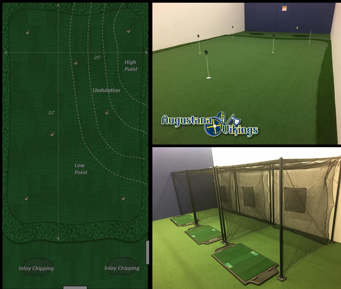 Augustana College Golf Room featuing TrueStrike hitting mats